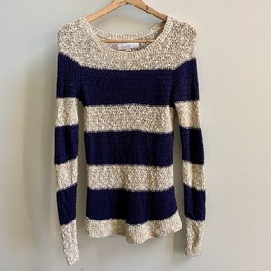 LOFT Knit Sweater in Blue and Tan